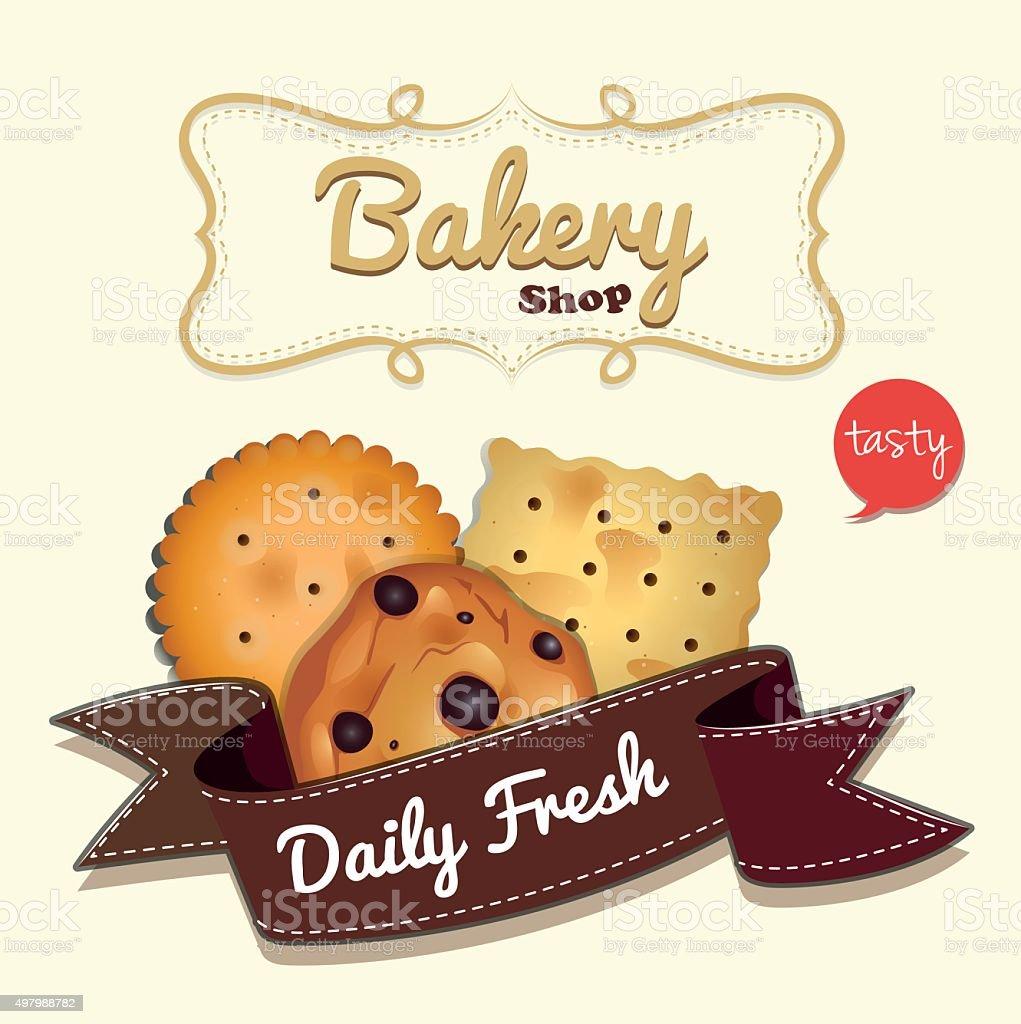 Logo design  cookies  text vector art illustration