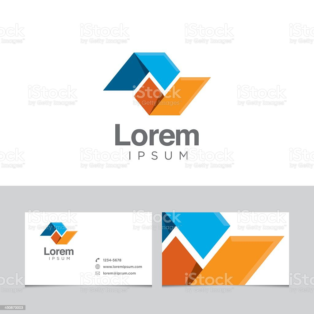 Logo design element and business cards model vector art illustration
