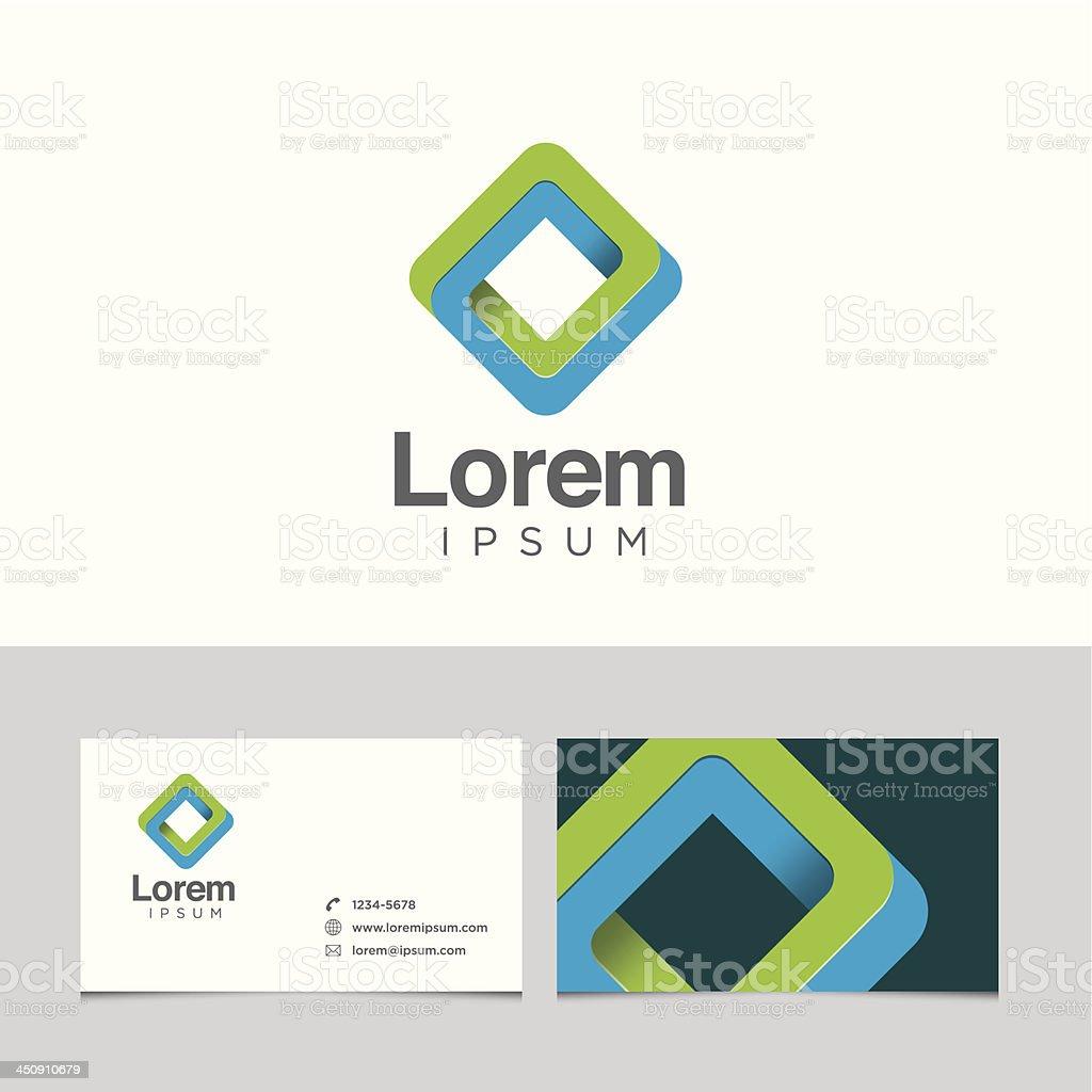 Logo design element with business card template vector art illustration