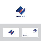 Logo design elements with business card template vector illustration