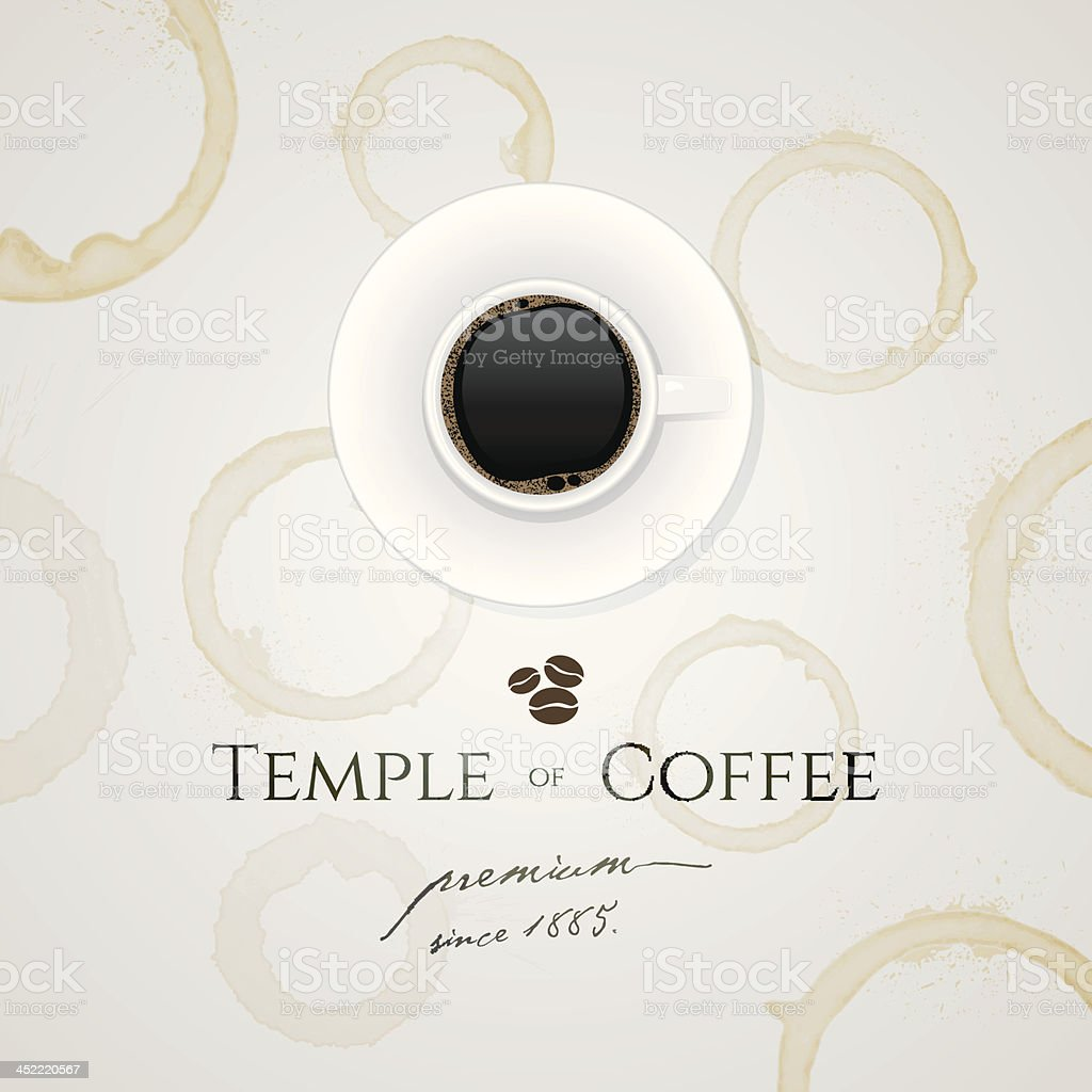 A logo displaying the brand of temple coffee  vector art illustration
