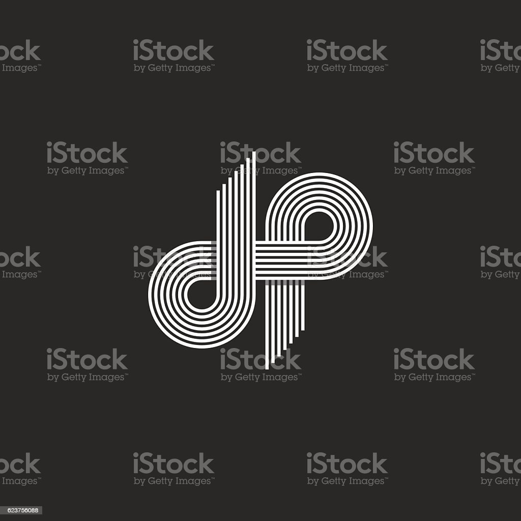 Logo DP letter monogram, offset thin line D P emblem vector art illustration
