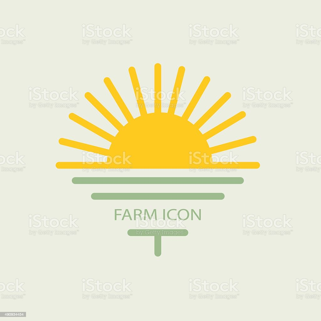 Logo farmhouse, with the sun and golf. flat design vector art illustration