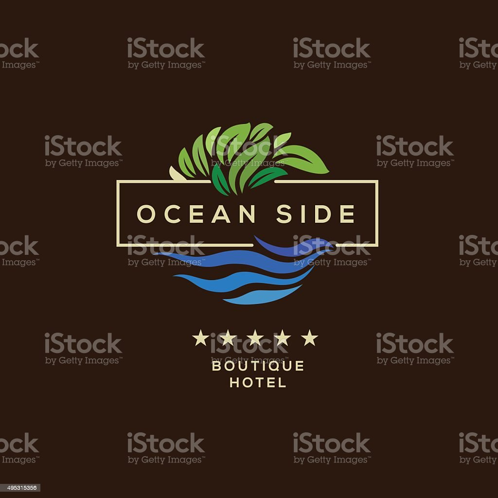Logo for hotel, ocean side resort, logotype design vector art illustration