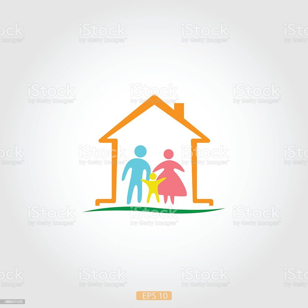 Logo home with a happy family, vector vector art illustration