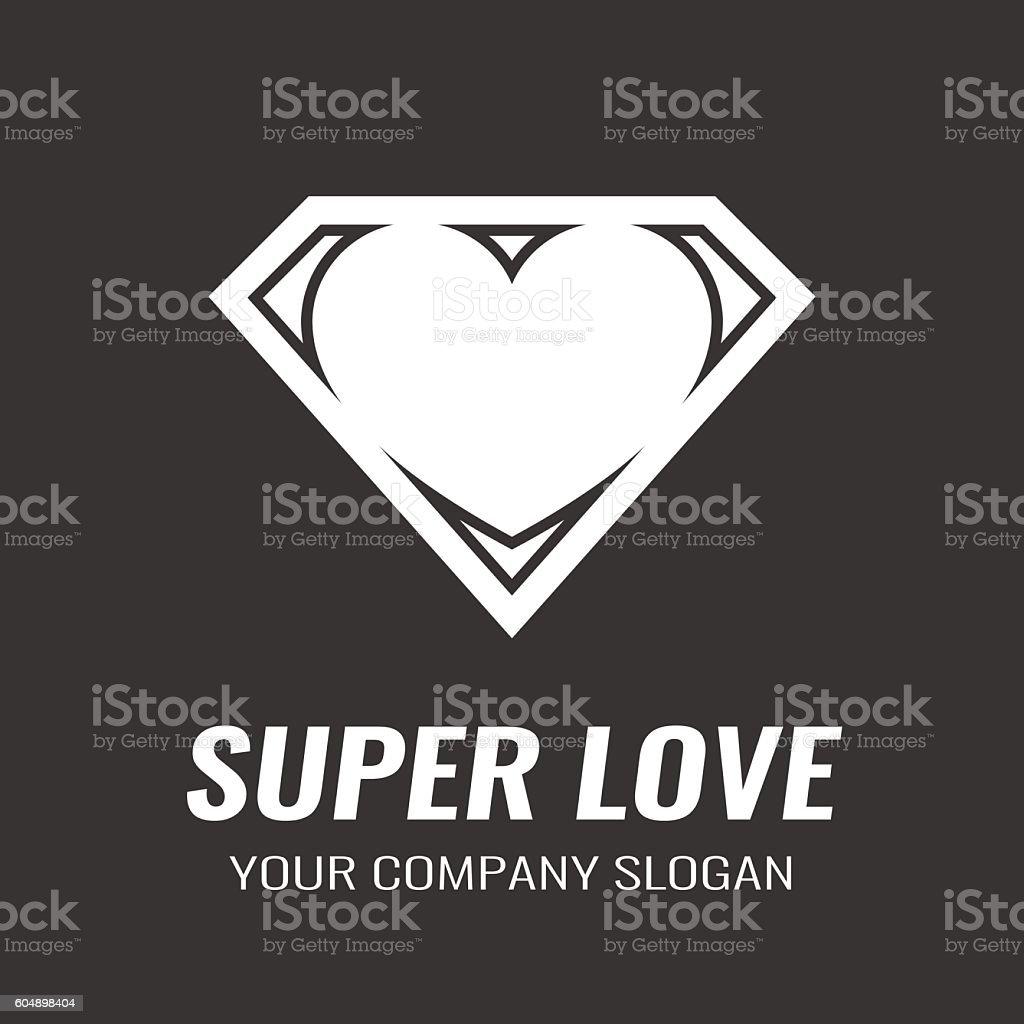Logo. Icon. Heart. Super love. vector art illustration