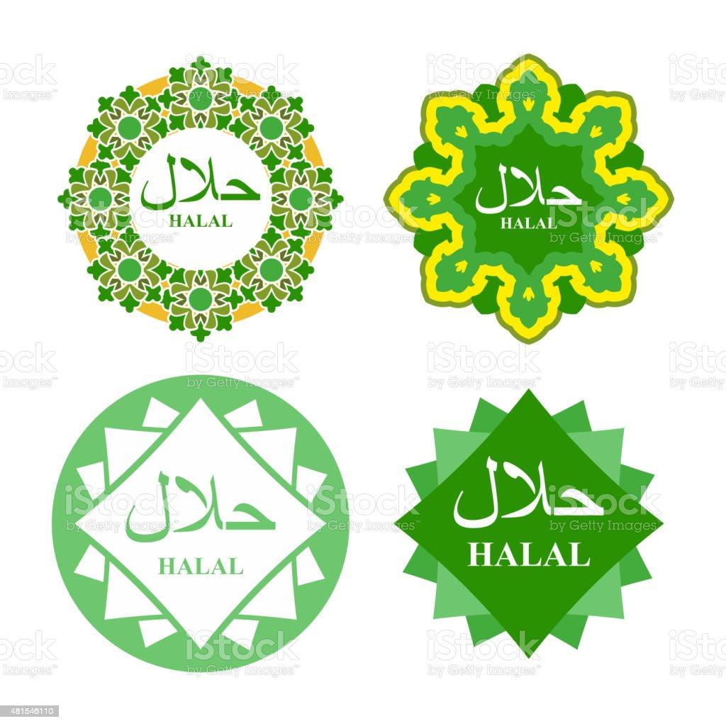 Logo label for  production of HALAL. Set of icons vector art illustration