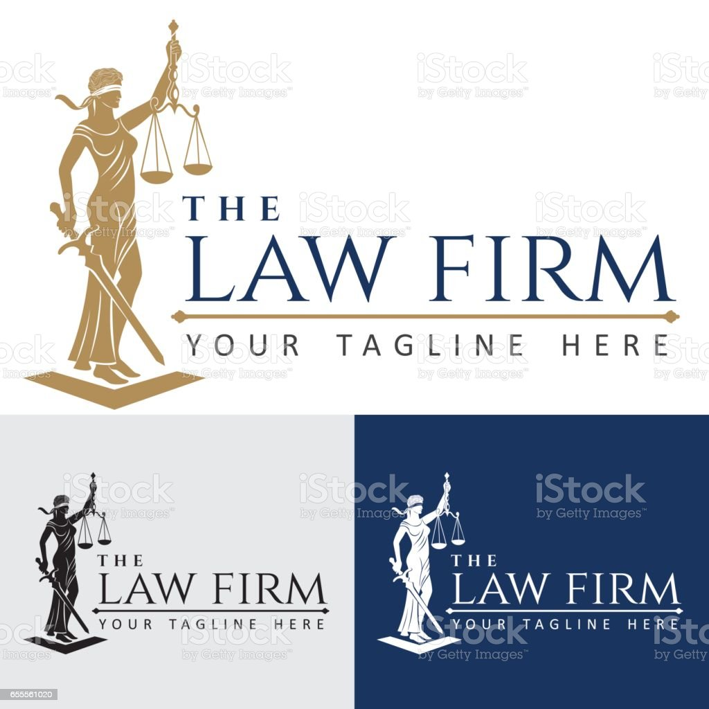 Logo law firm lady justice vector art illustration