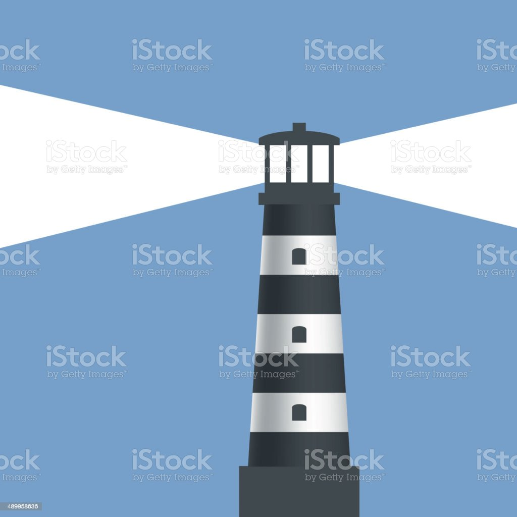 Logo lighthouse with light. vector art illustration