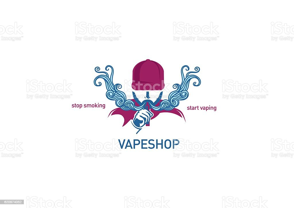 logo Man in the hood with the electronic cigarette. vector art illustration