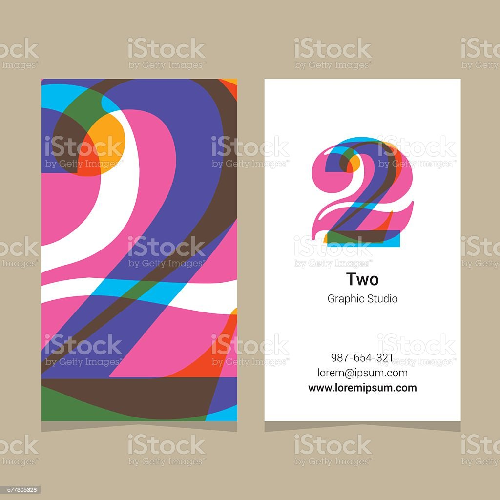 Logo number '2', with business card template. vector art illustration