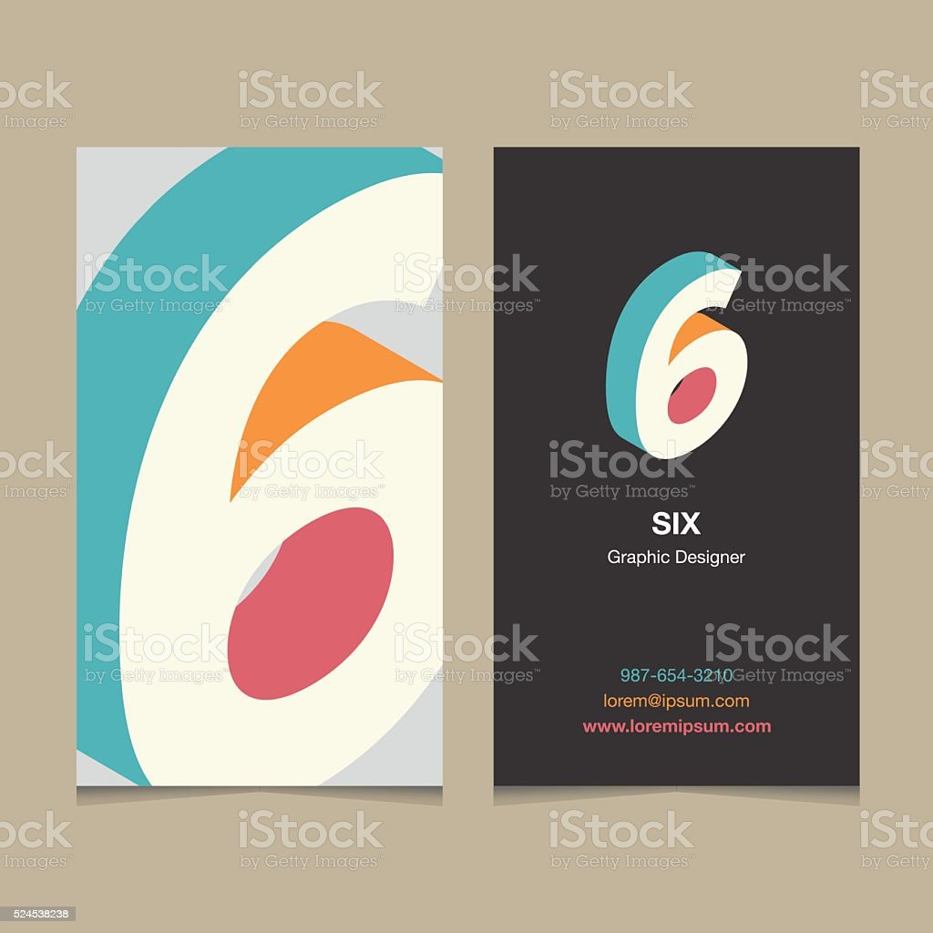 Logo number '6', with business card template. vector art illustration