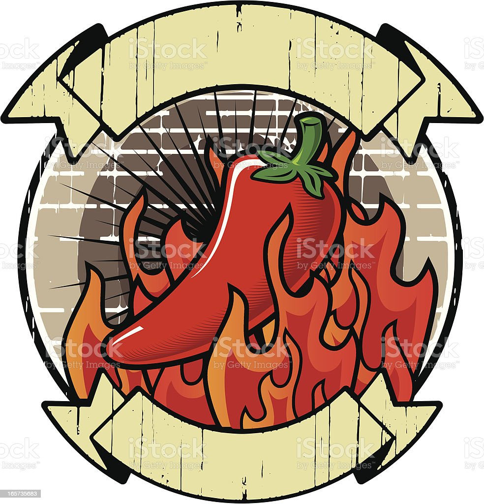 A logo of a chili surrounded by fire vector art illustration