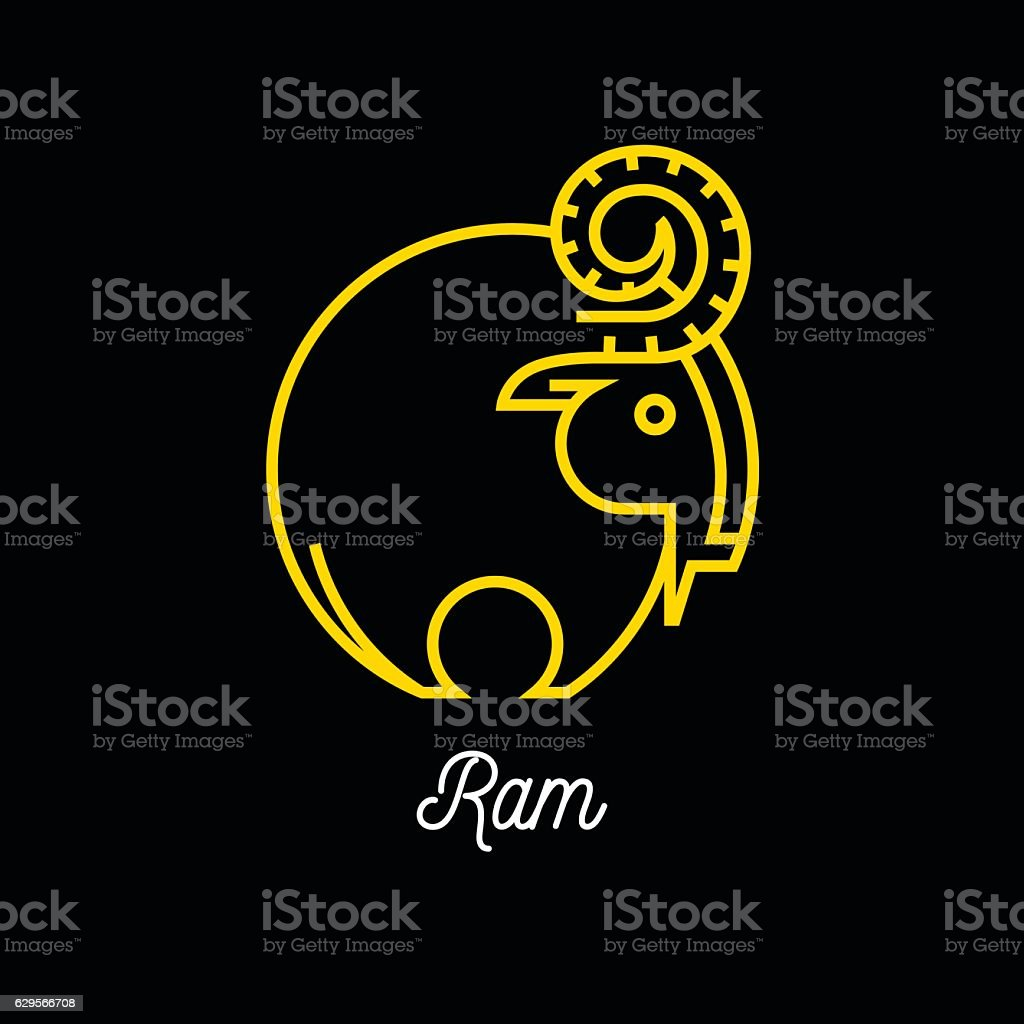 Logo of abstract yellow line Ram icon on black background vector art illustration