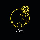 Logo of abstract yellow line Ram icon on black background