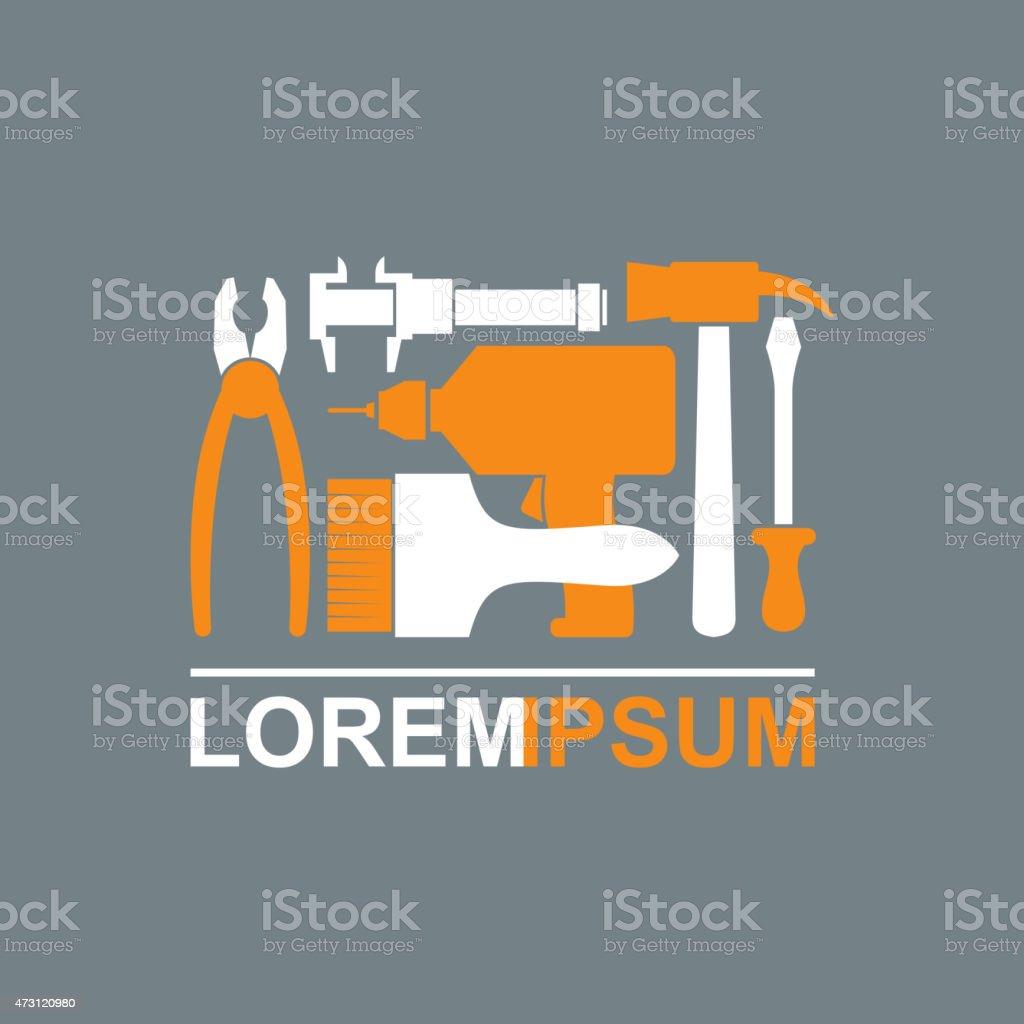 Logo of Construction tools. Carpentry tools to master. vector art illustration