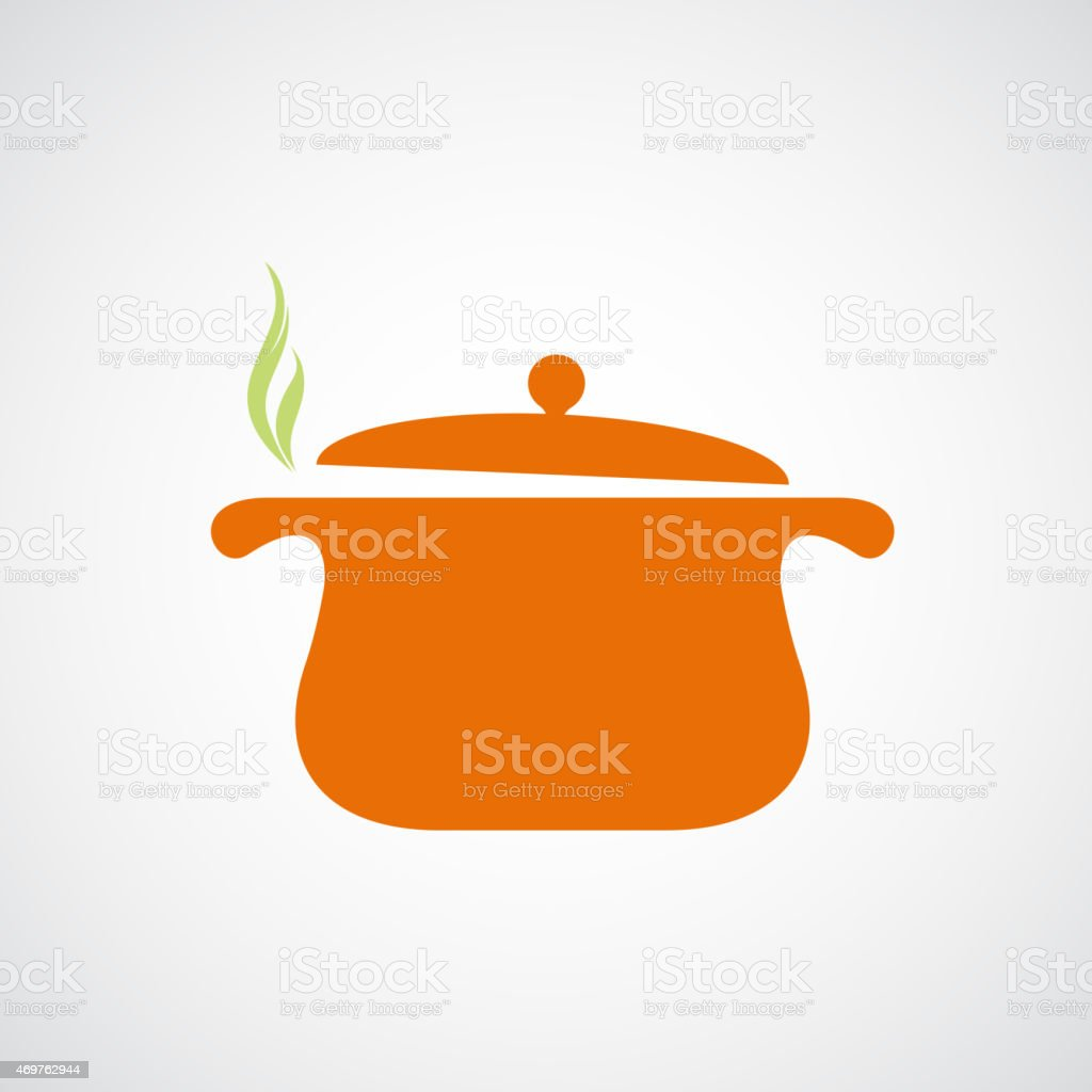 Logo of the pan with steam. vector art illustration