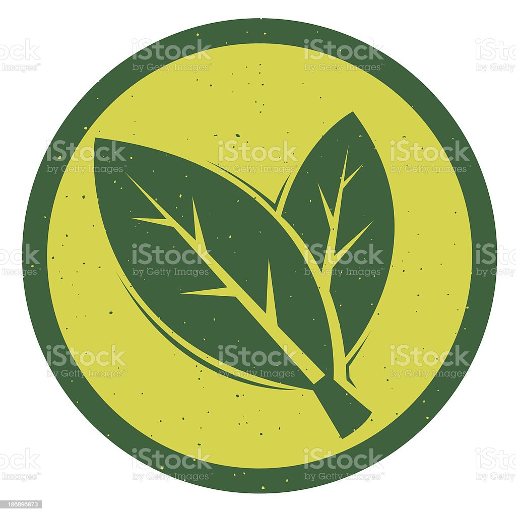 A logo of two green leaves in a yellow background vector art illustration