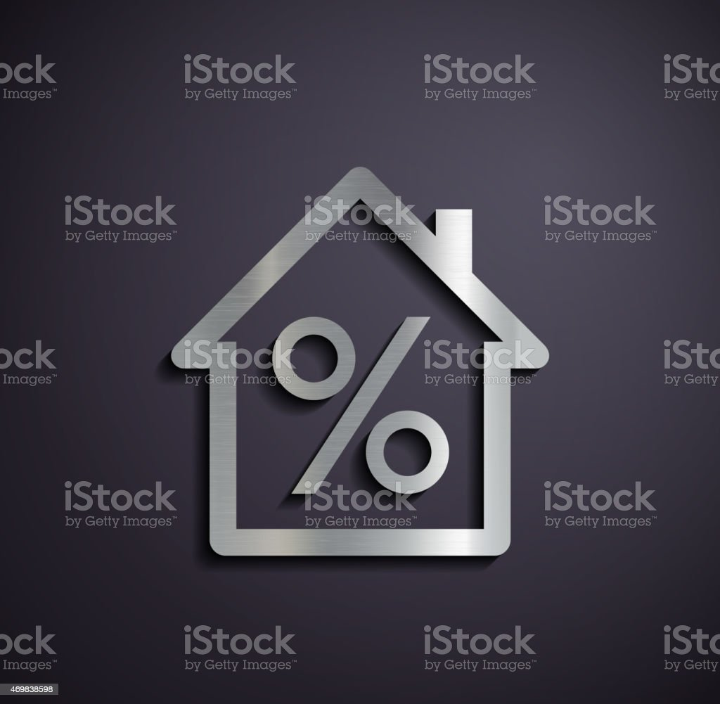 Logo real estate with a percent sign. vector art illustration