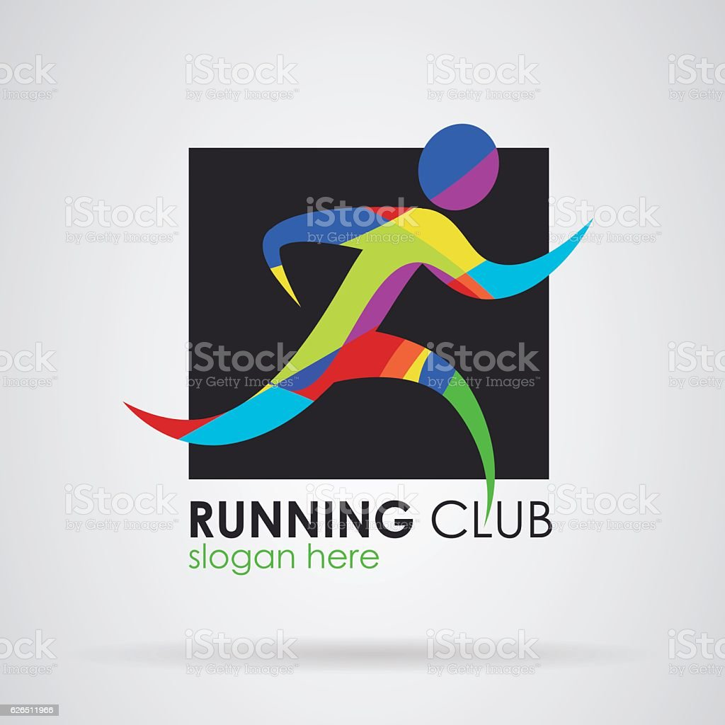 Logo running fitness sport vector art illustration