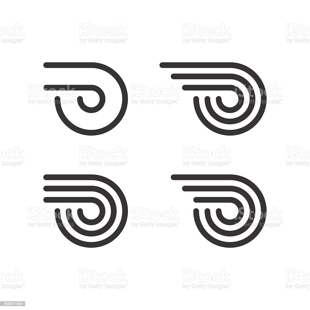 Logo Template Set. Wheel With Fire Or Wings. Line Style vector art illustration
