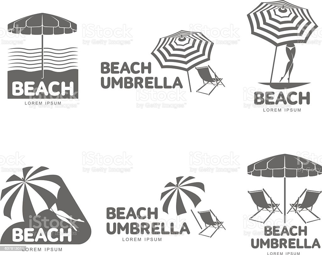 Chair beach umbrella and chair black and white - Logo Templates With Beach Umbrella And Sun Bathing Lounge Chairs Royalty Free Stock Vector Art