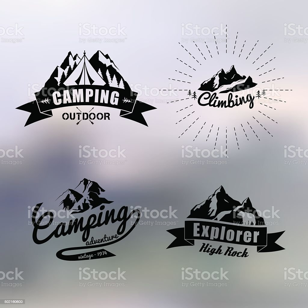 logo vintage outdoor theme vector art illustration