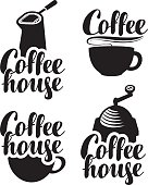 logos for coffee house with a cup and grinder