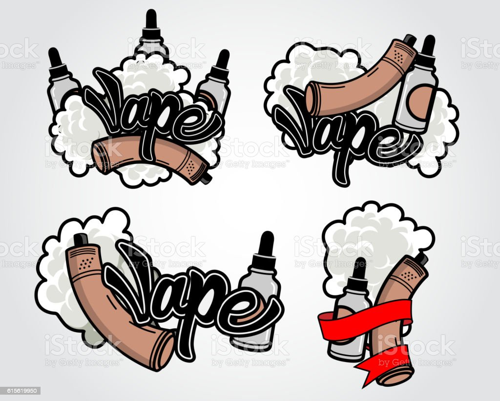 Logos for vape, electronic cigarettes vector art illustration