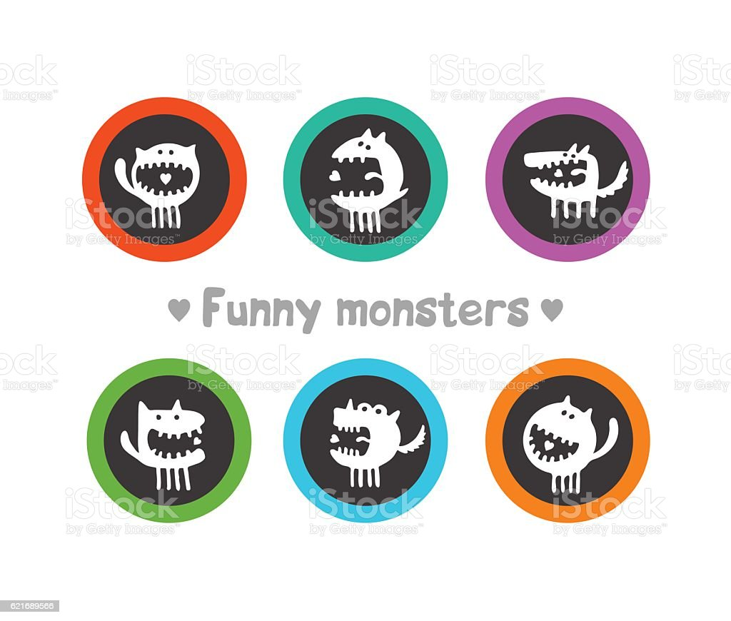 logos with funny monsters royalty-free stock vector art