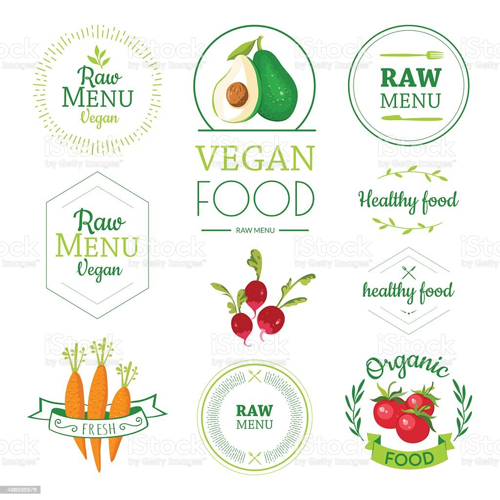 Logos with vegetarian and useful meal. vector art illustration