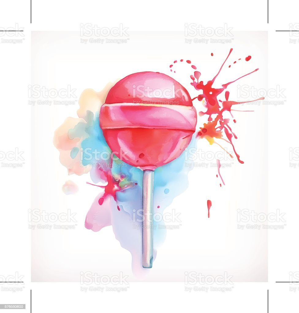 Lollipop candy vector illustration, watercolor painting, isolated on white background vector art illustration