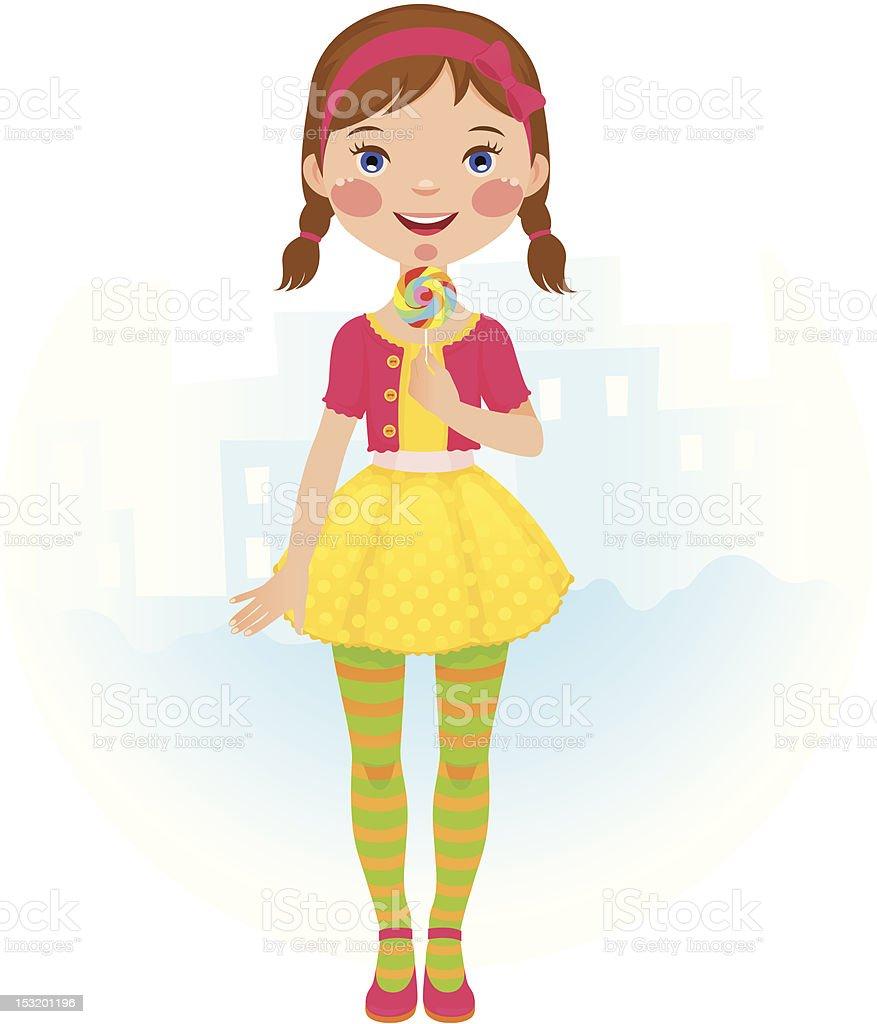 Lollipop girl vector art illustration