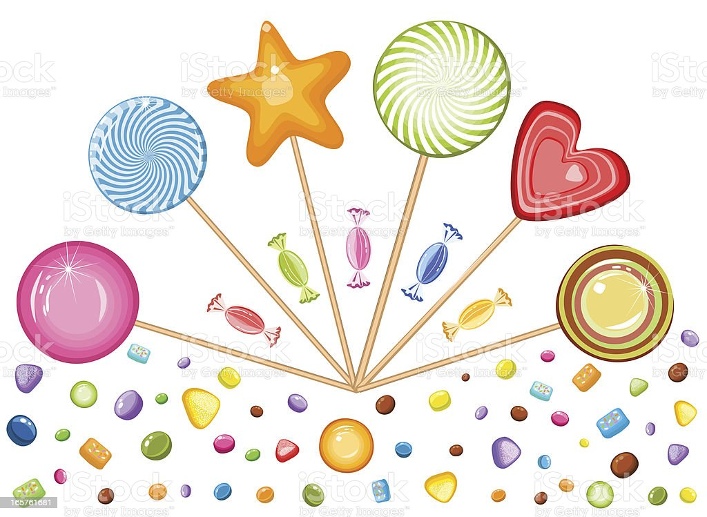 Lollipops Of Various Shapes, Candies And Sweet Stuff royalty-free stock vector art