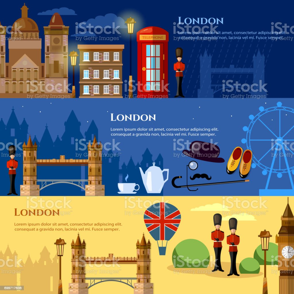 London attraction banner. Travel to United Kingdom Great Britain vector illustration vector art illustration