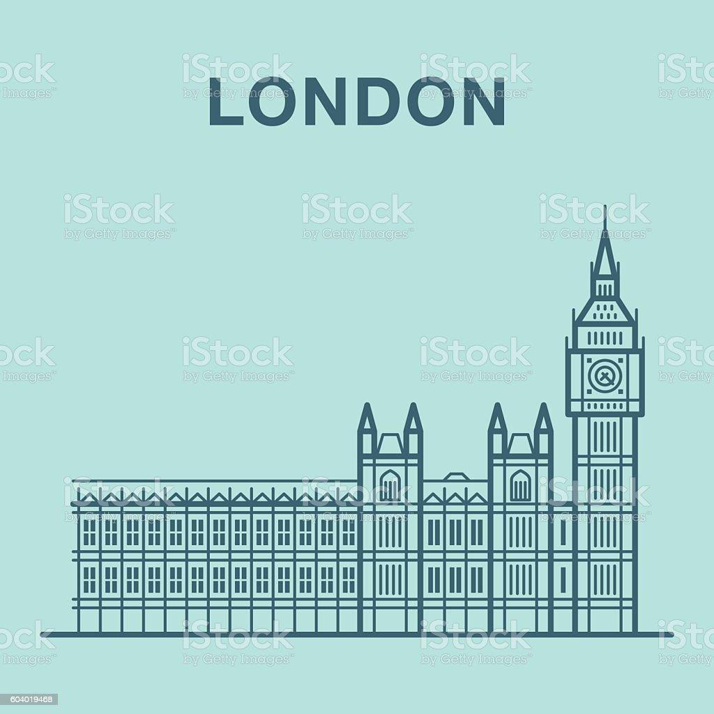 London Big Ben illustration made in line art style. vector art illustration