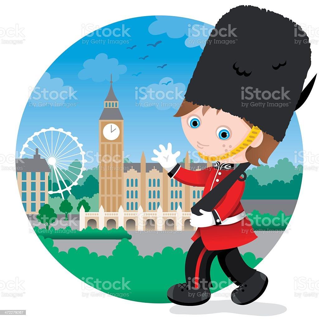 London British Royal guard boy royalty-free stock vector art