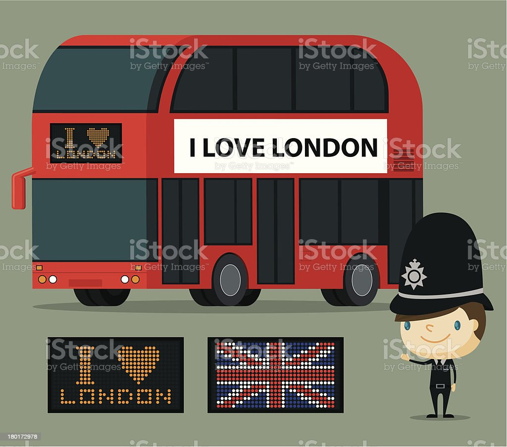 London Bus and Officer royalty-free stock vector art