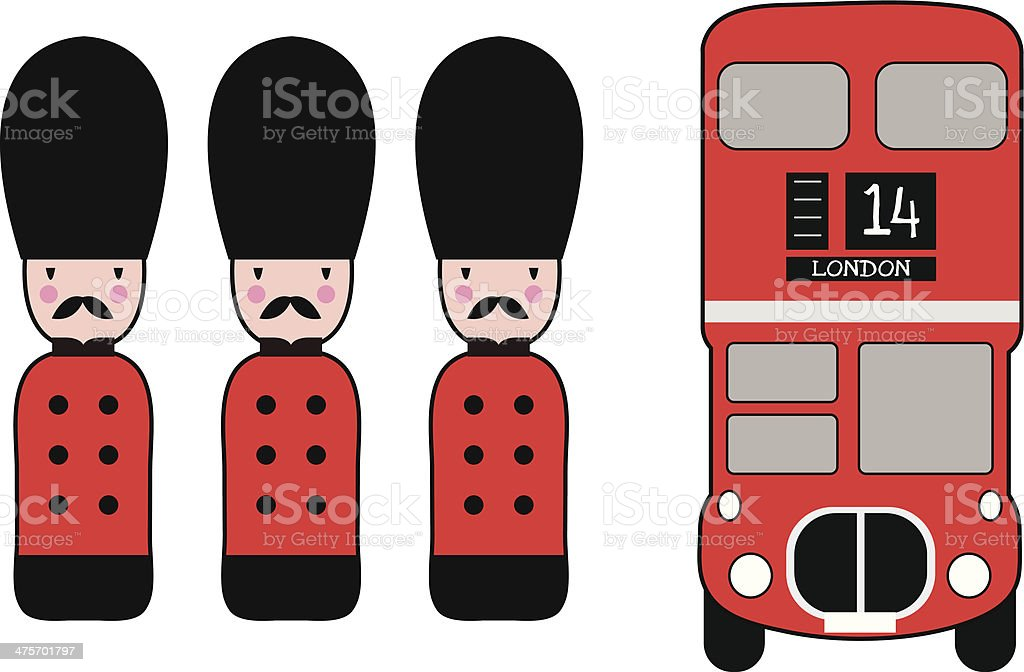London Bus & Soldiers vector art illustration