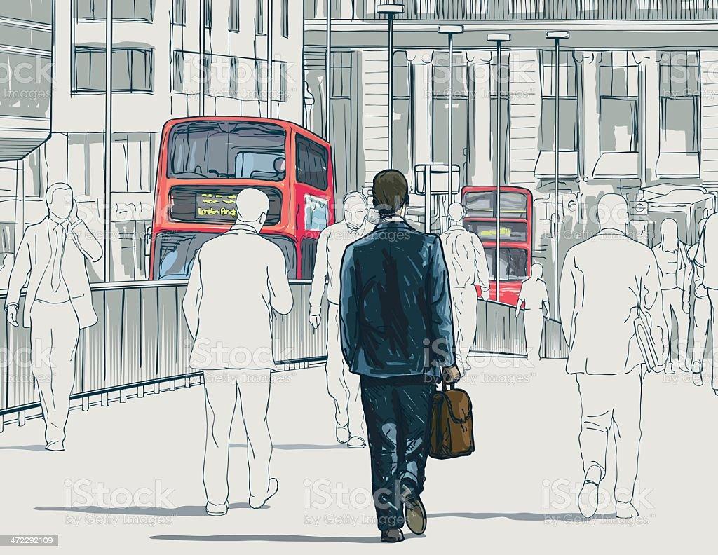 London Buses vector art illustration