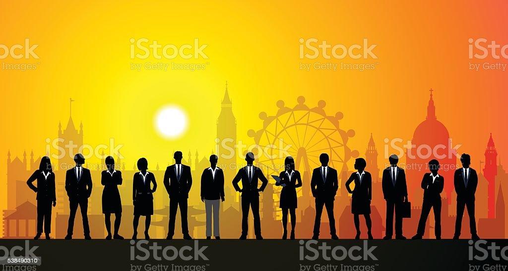 London Business People vector art illustration