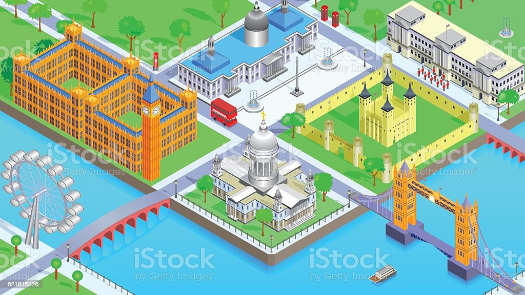 London Cartoon vector art illustration