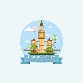 london city flat style. landmarks vector illustration