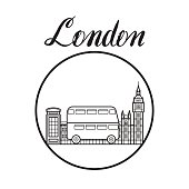London city line art sightseeing illustration with modern lettering