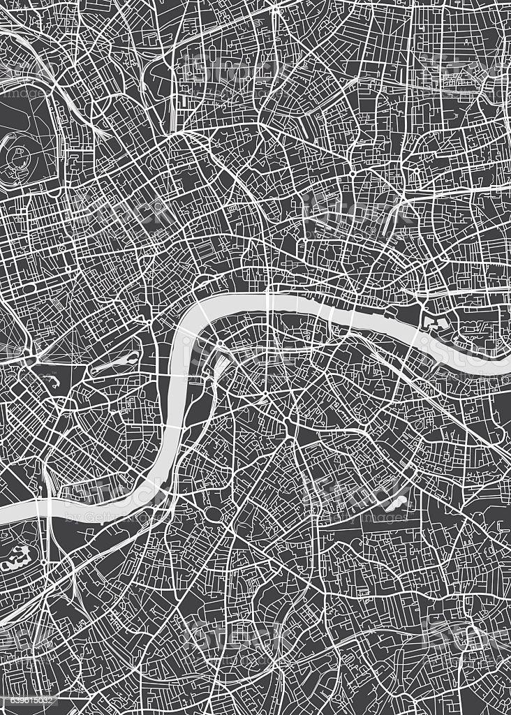 London city plan, detailed vector map vector art illustration