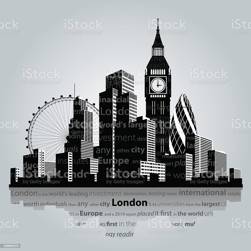 London city silhouette. vector art illustration