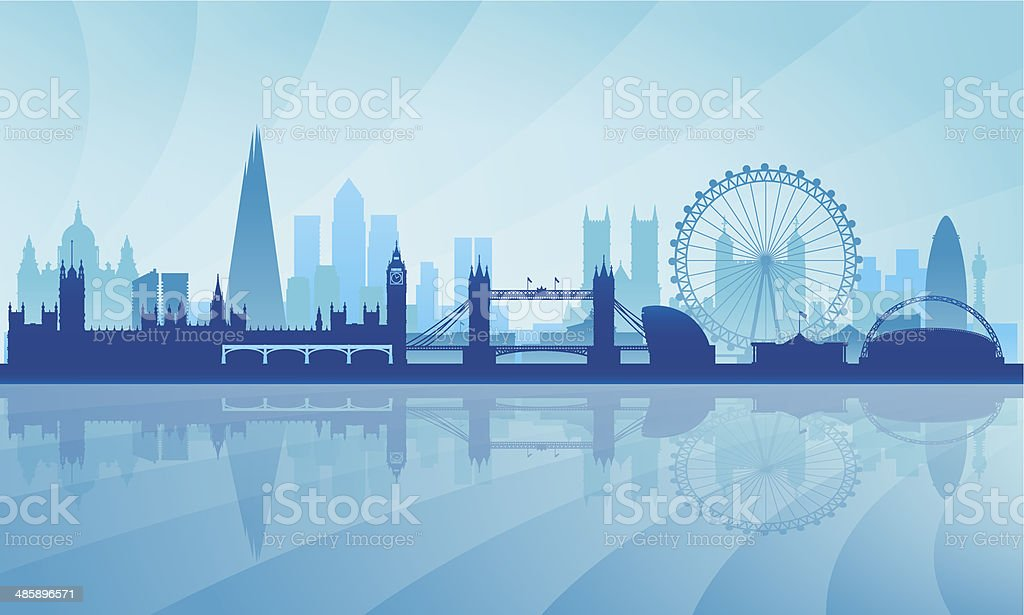 London city skyline silhouette background vector art illustration