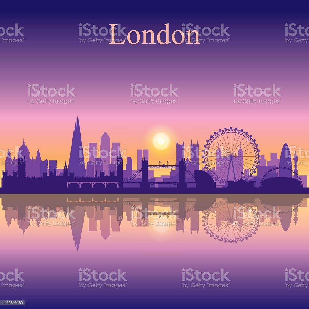 London city skyline silhouette background vector art illustration