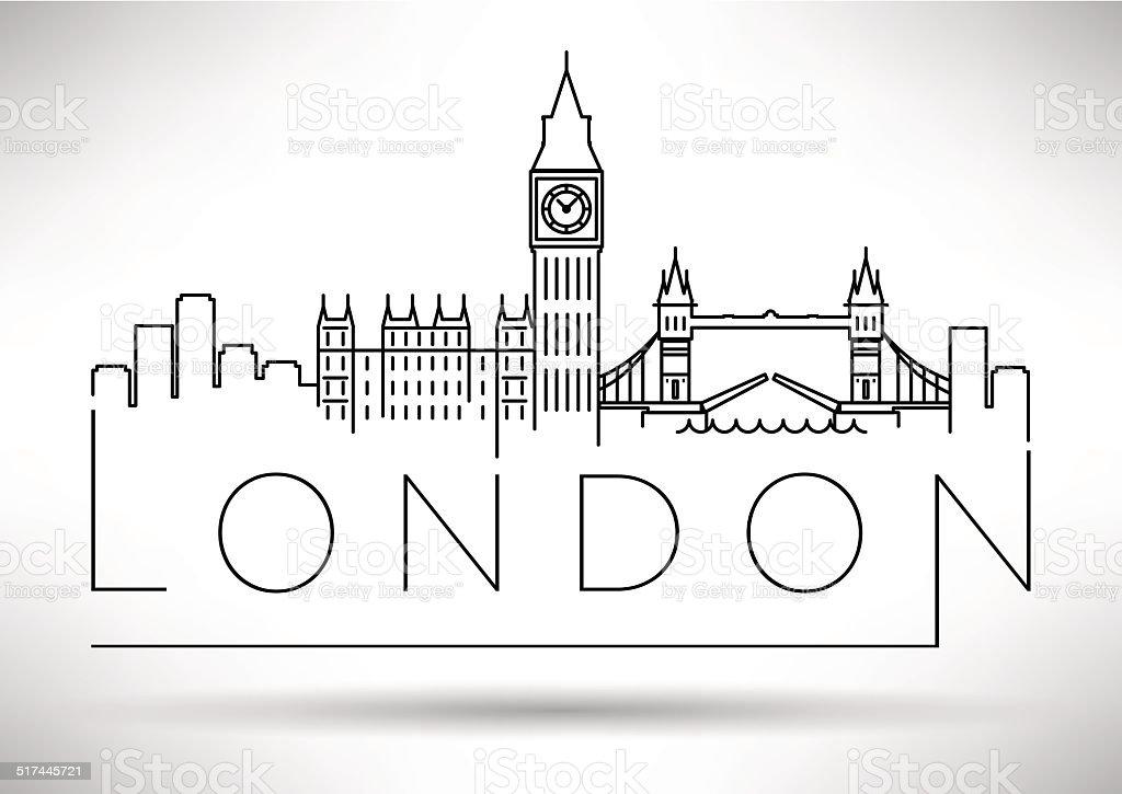 London City Skyline Silhouette Typographic Design vector art illustration