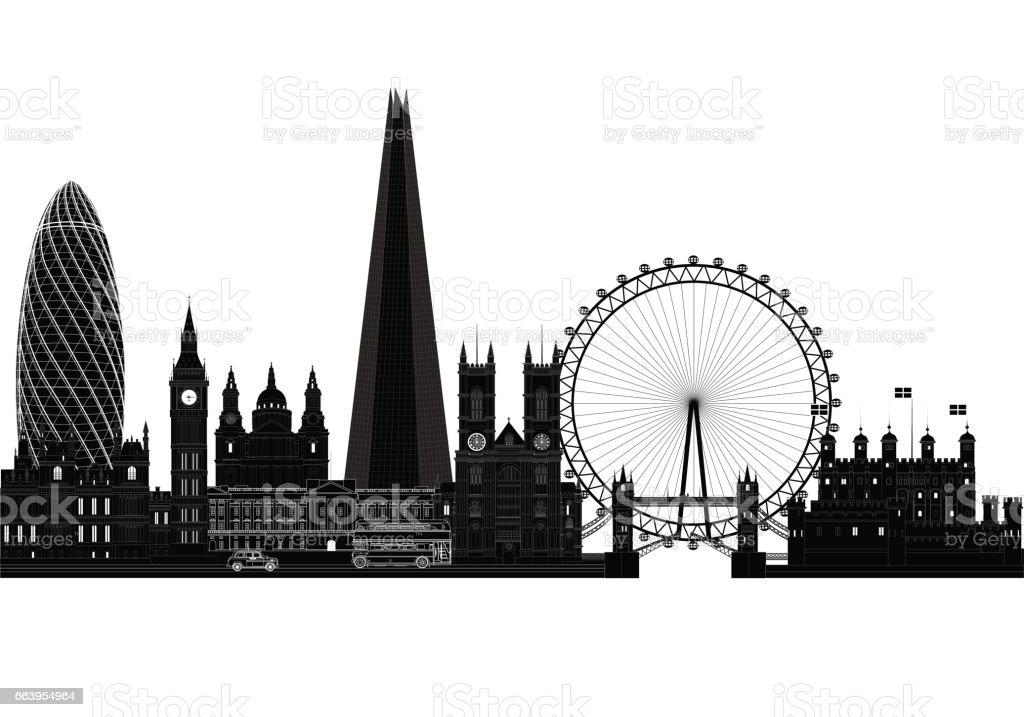 London city skyline, silhouette, vector illustration. Isolated vector art illustration